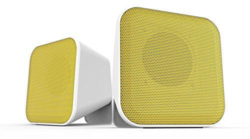 Speedlink SNAPPY-Stereolautsprecher für Notebook oder Smartphone - aktiver Stereo-Lautsprecher - weiß-gelb