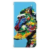 iPhoneSE (第2世代) iPhone8 iPhoneケース (手帳型) [カード収納/ミラー付き/ストラップホール] マンドリル アイフォンケース スマホケース 携帯電話用ケース CollaBorn Nijisuke (ニジスケ) (iPhone7/iPhone6s/iPhone6対応)
