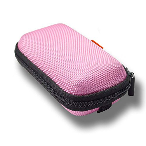 GLCON Rectangle Shaped Portable Protection Hard EVA Case,Mesh Inner Pocket,Zipper Enclosure Durable Exterior,Lightweight Universal Carrying Bag Wired/Bluetooth Headset Charger Change Purse (Pink)