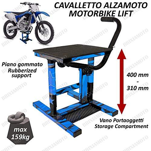 CAVALLETTO MOTO ALZAMOTO CENTRALE CROSS ENDURO MOTARD COMPATIBILE CON UNIVERSALE OFFROAD BLU