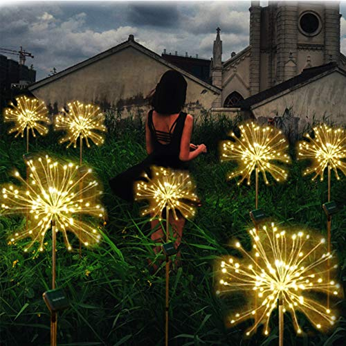 2 Pcs Solar Firework Garden Lights, 120LED Powered Copper Wires String Landscape Light, Auto ON-Off Warm White Waterproof Solar Lamp for Walkway Patio Lawn Backyard