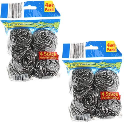 K&G GP01506 8er Set Scheuerspiralen Edelstahl-Topfreiniger für hartnäckige Verschmutzungen Scheuerpad Topfkratzer Edelstahlspiralen Stahlschwamm Küche