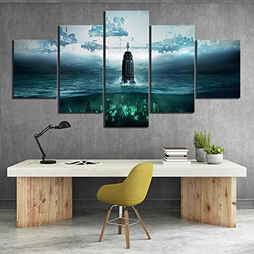 5 Stück HD Fantasy Art Steampunk Style Bilder Bioshock Die Sammlung Videospiel Poster Leinwand Gemälde für Wanddekoration(Frameless size2)