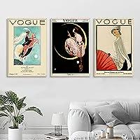 女性の月のポスターの写真ファッション雑誌の表紙壁アートパネルヴィンテージキャンバスプリントリビングルームの家部屋の壁の装飾絵画インテリア40x60cmx3フレームなし