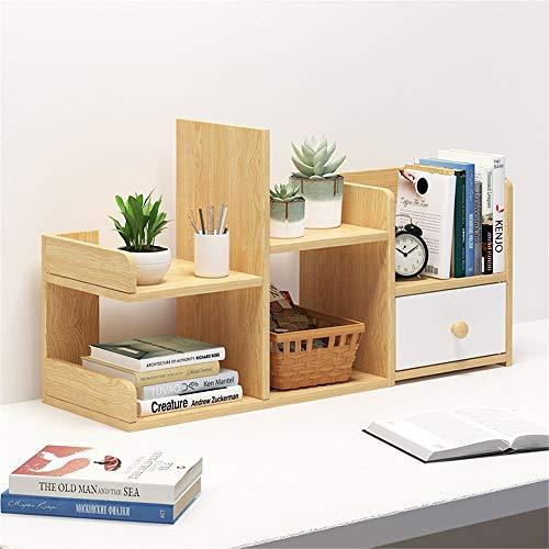 Organizador de escritorio organizador de escritorio para mesa de almacenamiento de mesa, estante de exhibición de madera, organizador de escritorio (color: A, tamaño: 62 x 17 x 41 cm)