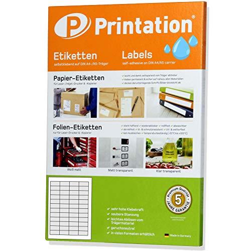 Witte etiketten 45,7 x 21,2 mm WEERBESTENDIG wit op A4-vel - 4 x 12 labels/pagina - 1200 folieetiketten 45,7 x 21,2 zelfklevend met laserprinter bedrukbaar