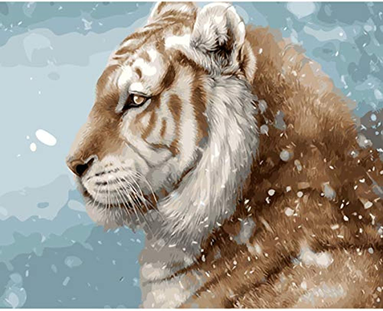 CZYYOU DIY Malen Nach Zahlen Malen Nach Zahlen Für Wohnkultur Bild Ölgemälde Für Wohnzimmer Tiger Im Schnee, Ohne Rahmen, 40x50cm B07Q69ZT89 | Verrückter Preis