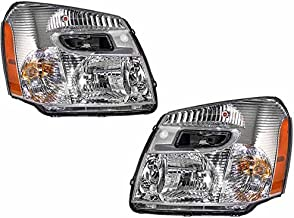 HEADLIGHTSDEPOT Headlight Halogen Chrome Fits 2005-2009 Chevy Equinox (Pair)