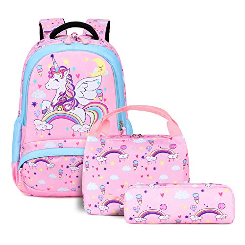 Unicorn School Bookbag for Girls - 3 Pieces Cute Lightweight Backpack Set for 8+ Years Old Kids Pink