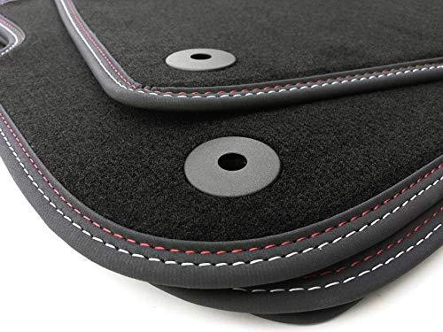 kh Teile Fußmatten passend für A4 Cabrio/Velours, Automatten Premium Qualität, Stoffmatten, 4-teilig, anthrazit, Doppelnaht rot/weiß