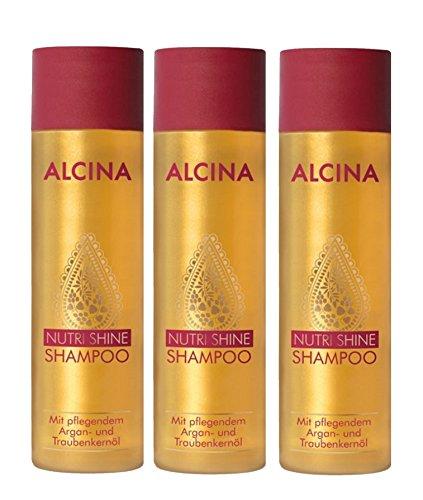 3er Alcina Nutri Shine Shampoo mit pflegendem Argan und Traubenkernöl je 250 ml = 750 ml