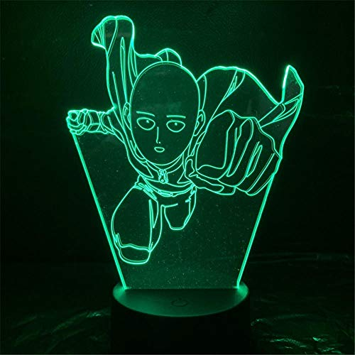 LED 3D Night LightOne Punch Man Saitama AnimeUSB 7 colores Sensor táctil Niño Niños Regalo Lámpara de mesa Decoración de escritorio-16 colors remote