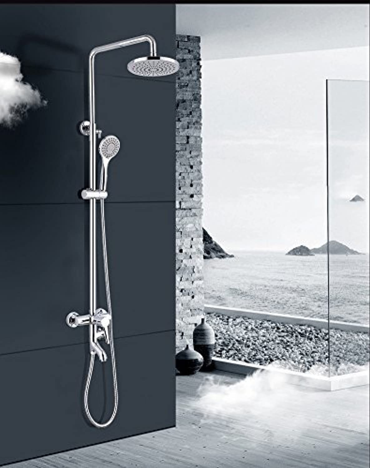 Thermostatic shower faucet shower bathroom shower suit copper stainless steel mixing valve booster hand shower nozzle