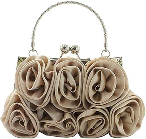 Women Flower Pattern Small Clutch Evening Party Bags Purse Bridal Handbags Beige