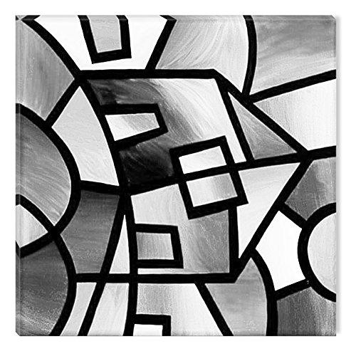 Startonight Impression Sur Toile Noir et Blanc Construction Géométrique, Art Encadré Imprimée Tableau Motif Moderne Décoration Tendu Sur Chassis Prêt à Accrocher 80 x 80 cm