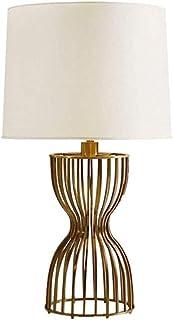 JEONSWOD Lampes de table classique Jeu de fer Scroll Faux soie Rectangle Shade for Living Room famille Chambre