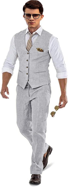 Retro Linen Suit Vest for Men Casual Slim Fit 2 Pieces Waistcoat and Pants for Groomsmen Grey