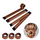 Ealicere 3 Stücke Donut Hair Bun Maker, Magic Twist Donut French Band für Damen DIY Hairstyle Tools(Braun)