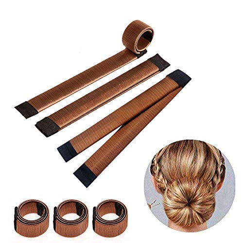 Ealicere 3 Stücke Donut Hair Bun Maker, Magic Twist Donut French Band für Damen DIY Hairstyle Tools(Braun)