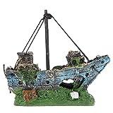 Demarkt–Acuario Decoración Resina Buque de Guerra Pez Tank Ornament 23x 4x 11cm