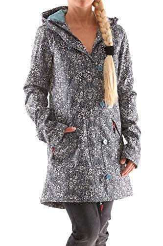 Blutsgeschwister Wild Weather Long Damen Jacke Mantel, Größe:L, Farbe:Grau (Oregon Ornamental)