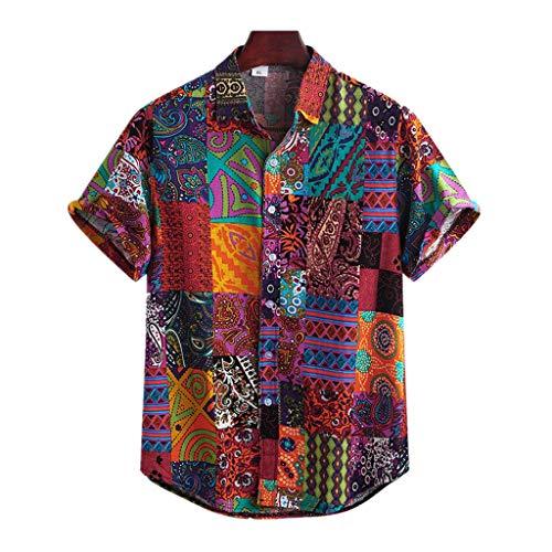 Herren Hemd Hawaiihemd Kurzarm Urlaub Freizeit Reise Shirt Strand Blumen BeiläUfige Hemden Aloha für Party Feiertag A, 5XL Multicolor (t-Shirt XXXL, Arbeit Tshirt Herren)