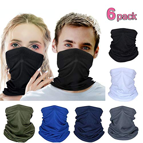 DALV Multifunktionale Magic Scarf Outdoor Kopfbedeckung Bandana Sports Tube UV Gesichtsmaske für Workout Yoga (6 Farben/Packung)