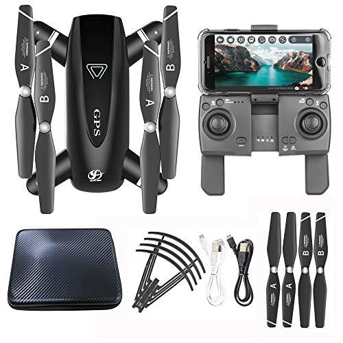 Bascar S167 Dron con cámara, plegable 2,4 G 1080P HD Selfie 120 ° FOV lente GPS 5G WiFi FPV RC Quadcopter | Headless Mode | Follow-Me | con 3.7 V 1300 mAh Lipo batería