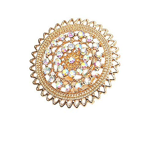 Dtja Vintage Big Round Statement Ring for Women Girls Boho Antique Mosaic Crystal CZ Expandable Open Wrap Finger Rings Adjustable Comfort Fit Indian Bollywood Style Exaggerated Jewelry (Lacy)