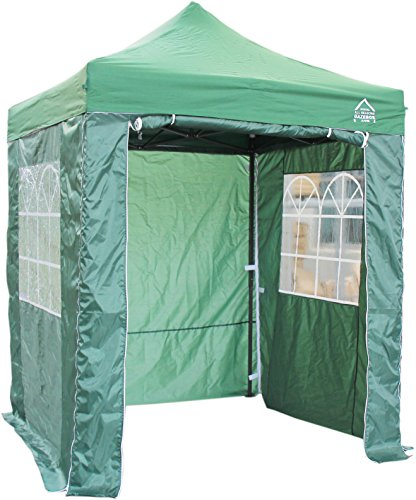 All Seasons Gazebos, Choice Of 5 Colours, 2x2m Heavy Duty, Fully Waterproof, Premium Pop Up Gazebo With 4 x Zip Up Side Panels, Carry Bag With Wheels and 4 x leg weight bags (Green)