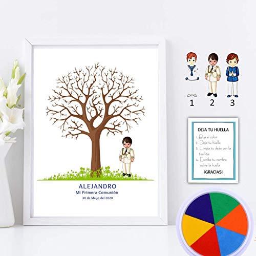 Didart Handmade Cuadro de árbol de huellas con niño de comunión. Varios tamaños y colores de marco.Tintas e instrucciones incluidas. BANNER E INVITACIONES A JUEGO SI LO DESEAS