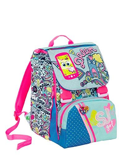Zaino scuola sdoppiabile SJ GANG - GIRL - Azzurro Rosa - FLIP SYSTEM - 28 LT elementari e medie 3 pattine sfogliabili