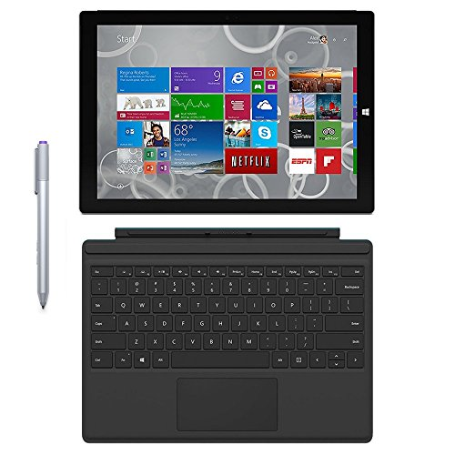 Microsoft Surface Pro 3 Tablet (12-inch, 128 GB, Intel Core i5, Windows 10) + Microsoft Surface Type Cover (Renewed)