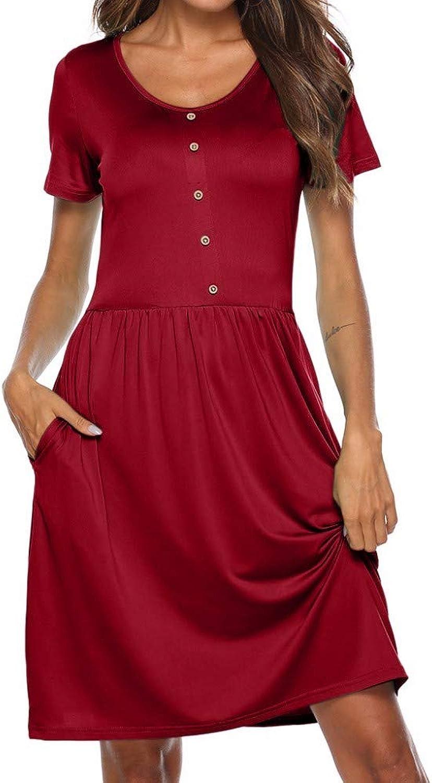 ZPSPZ dress ShortSleeved TShirt Casual Dress Women's Summer Button Pocket Round Collar