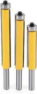 DingGreat 3Pcs Fresa para paneles con rodamiento, Herramienta de corte de carpintería con vástago de 8 mm, hoja de corte r...