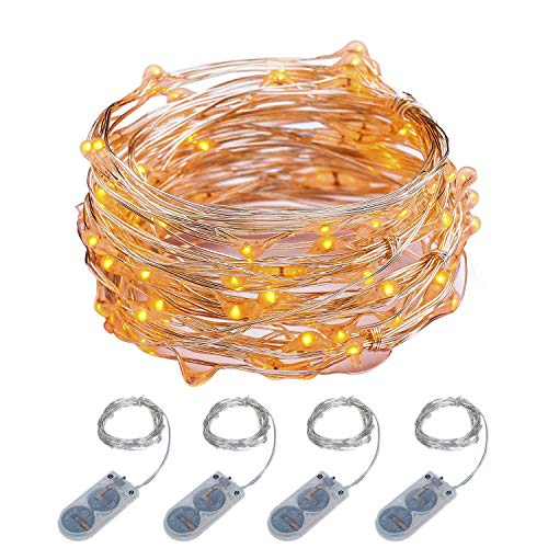 ITART Micro LED String Lights Battery Powered 4 Packs Orange Mini Fairy Hanging Light 20 LED 6Ft Ultra Thin Silver Wire Rope Lights for Christmas Trees Wedding Parties Bedroom