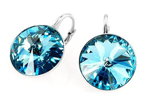 Crystals & Stones *RIVOLI* 14 mm *Aquamarine* Ohrringe Damen Ohrhänger mit Kristallen von Swarovski Elements