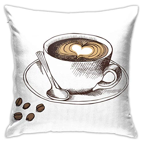 Throw Pillow Cover Cushion Cover Pillow Cases Decorative Linen Heart Coffee for Home Bed Decor Pillowcase,45x45CM