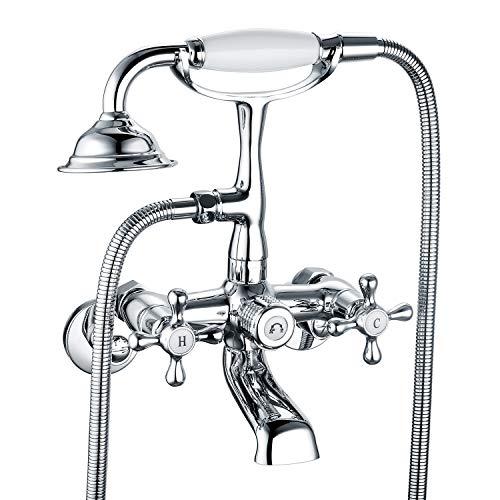 Victoria Bathroom Clawfoot Tub Bathtub Bath Faucet G1/2 with Hand Shower Chrome Wall Mounted Two Handles