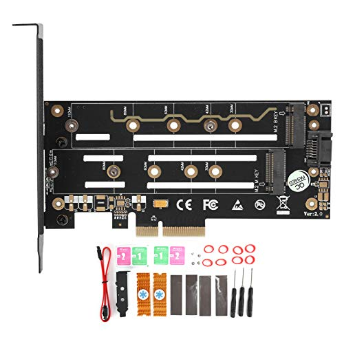 Tarjeta adaptadora NGFF B + M Key a PCI-E4X / SATA3 con Soporte de luz LED Placas Base PCI-E1.0, PCIe 2.0 y PCIe 3.0