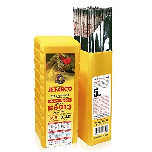 Electrodo para soldadura 2,5 mm. Rutilo E6013 para soldadura de Acero al Carbono, hierro,Ø 2,5 x 350mm. 5K, 250 varillas aprox.). JET-ARCO España. Ref.: J100EL