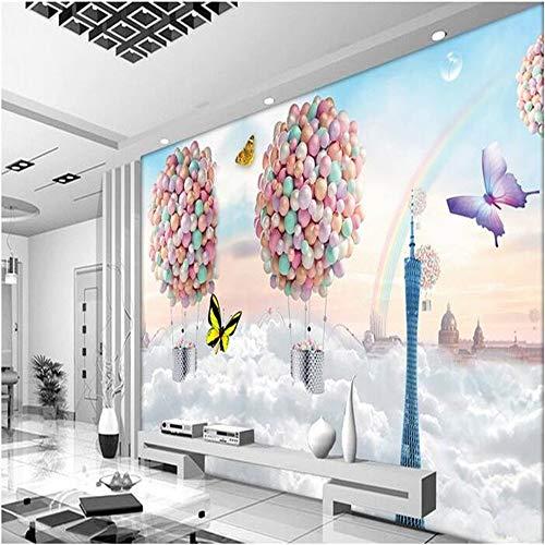 Tapeten Wandbild WandaufkleberBenutzerdefinierte Wandbild Seidentuch 3D Zimmer Wandpapier Einstellungswand Bunte Luftballons Fliegen Unsere Traum Fototapete Für Wände 3 D, 200 * 140 Cm