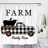 Wencal Farm Buffalo Karo Karo Truck mit Kuh & Krähe Bauernhof Duschvorhang Herbst Badezimmer Decor, Polyester, schwarz/weiß, 72 Inches x 72 Inches