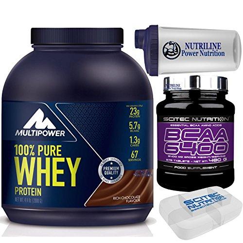 Multipower Pure Whey Protein 100% 2000 gr 2 kg Cioccolato Proteine del Siero Del latte + 375 bcaa 6400 Aminoacidi Ramificati + Shaker Nutriline e Portapillole Scitec Nutrition