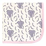 Touched by Nature Unisex Baby Organic Cotton Swaddle, Receiving and Multi-purpose Blanket, Pink Elephant, One Size
