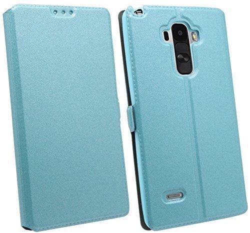 ENERGMiX Buchtasche kompatibel mit LG G4 Stylus (H635) Hülle Case Tasche Wallet BookStyle mit Standfunktion in Blau