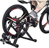 GY613 Bike Trainer Stand, Steel Bicycle Exercise Magnetic Stand with Noise Reduction Wheel Road Cycling Training Stand Mountain & Road Bike Portable Foldable Quick-Release