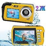 Unterwasserkamera Wasserdicht Digitalkamera 48MP 2.7K wasserdichte Kamera 16X Digitaler Zoom Selfie Dual Bildschirm Unterwasser Kamera zum Schnorcheln