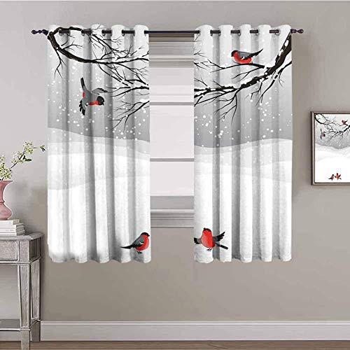 LTHCELE Opacas Cortinas Dormitorio - Blanco Nieve Gran árbol pájaro - Impresión 3D Aislantes de Frío y Calor 90% Opacas Cortinas - 280 x 245 cm - Salon Cocina Habitacion Niño Moderna Decorativa