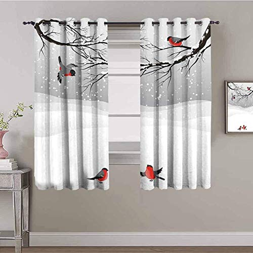 LucaSng Blackout Curtain Thermal Insulated - Gray animal magpie winter scene - 110x78 inch - for Bedroom Kitchen Living Room Boy Girl Window - 3D Digital Printing Eyelet Ring Curtain